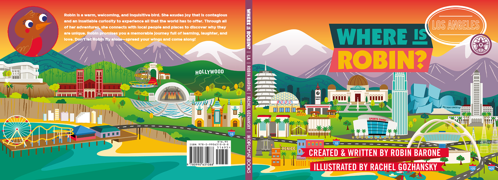 the front and back cover of Where Is Robin? Los Angeles; publication date Feb 2018