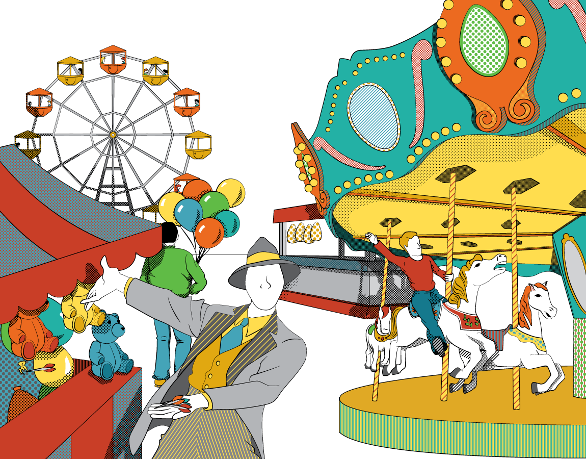 illustration of a a carnival with games, carousel and ferris wheel drawn in the style of a vintage carnival poster