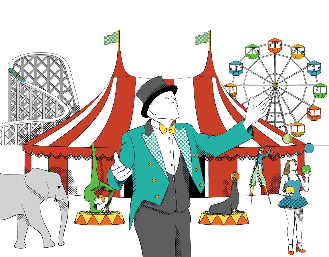 illustration of the swings ride at a carnival