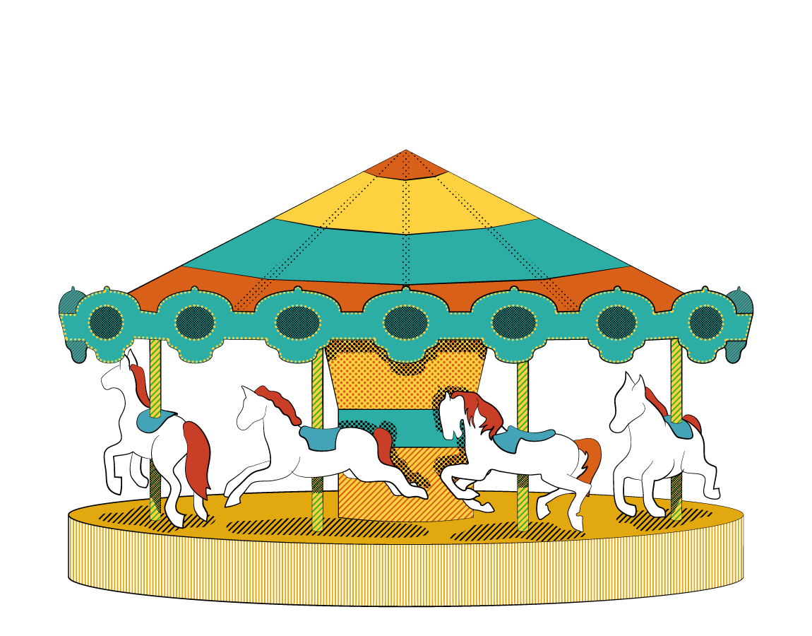 illustration of a carousel in the style of a vintage carnival poster