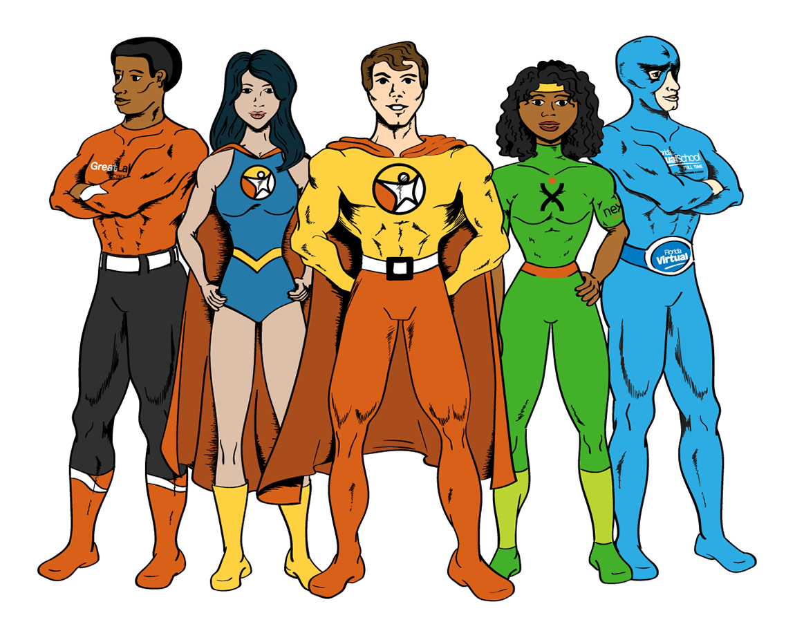 vintage comic book style illustration of a team of super heroes standing in a group. each hero represents one of the Connections Education 5 brands