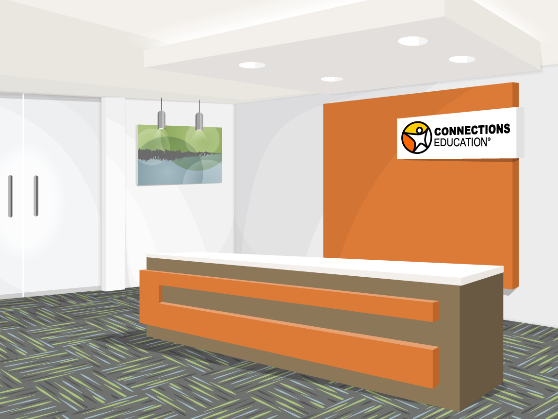 illustration of the lobby of a corporate office