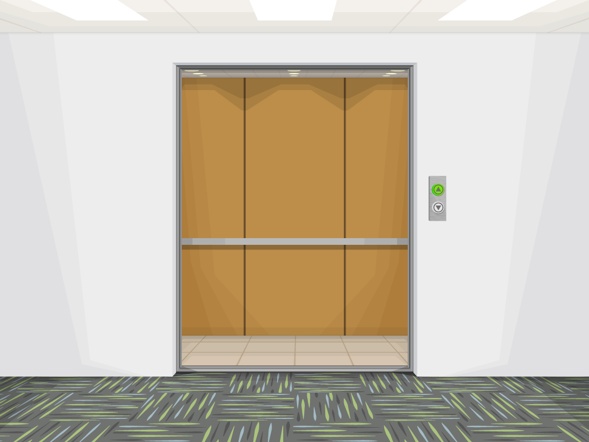 illustration of the elevator bay of a corporate office