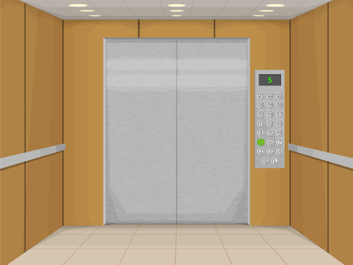 illustration inside of an elevator of a corporate office