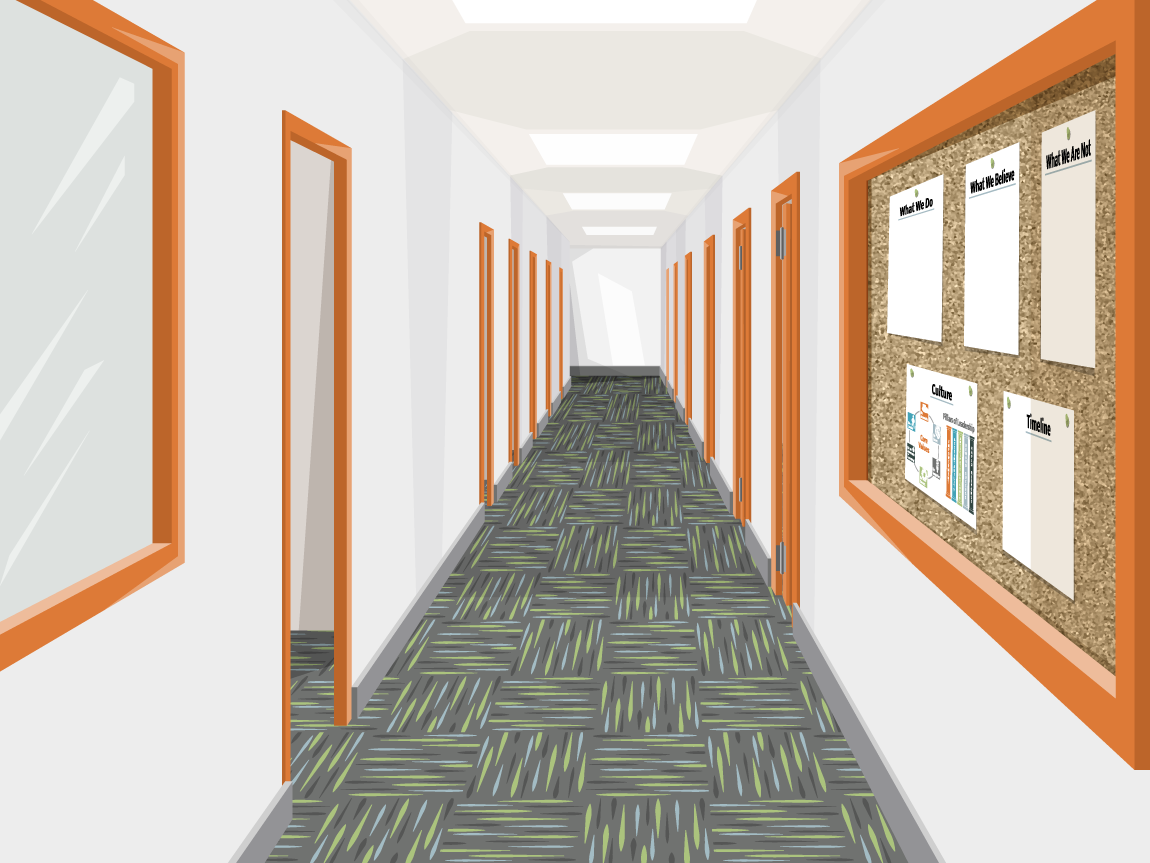 illustration of a corporate office building hallway with doors and a bulletin board