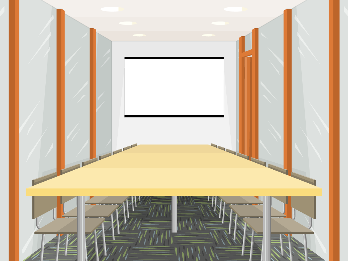 illustration of a conference room in a corporate office building