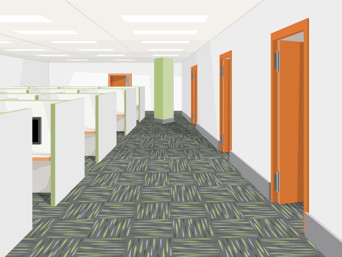 illustration of cubicles and offices within a corporate office building
