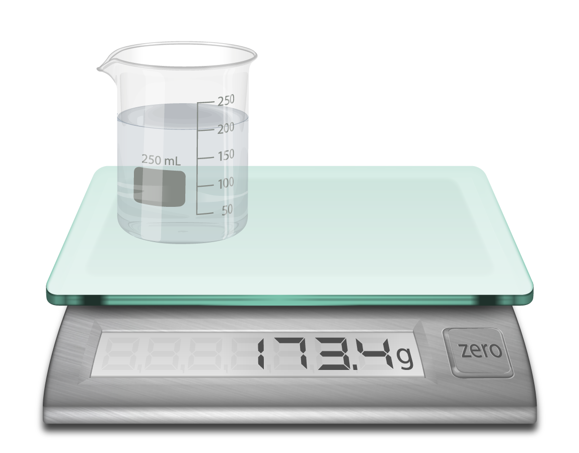 photo realistic illustration of a ditigal scale weighing a glass beaker holding 200 ml of water