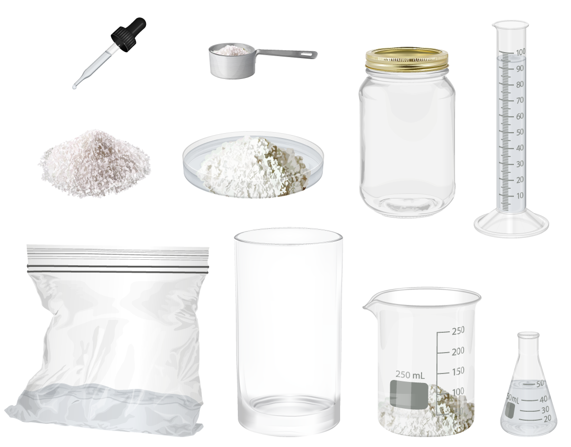 photo realistic illustrations of objects that can be weighed on the scale, including a pipette, a measuring cup, NaCl, a petri dish holding baking soda, a glass jar, a graduated cylinder, a plastic ziplock bag, a glass cup, a glass beaker, and a glass flask