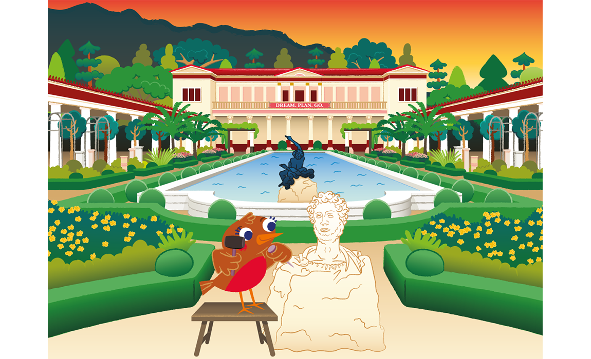 illustration depicting the bird Robin chiseling a sculpture in the Getty Villa garden